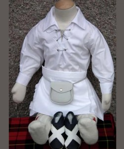 Baby Braveheart 0-6 Months White Kilt Package inc Saltire Shoes